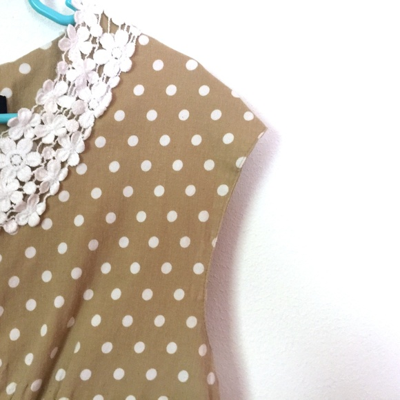 Acevog Dresses Tan Polka Dot Dress Form Fit Plus Size Xxl Poshmark
